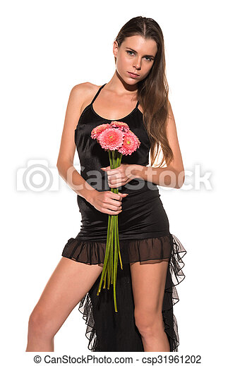 Brunette with flowers - csp31961202
