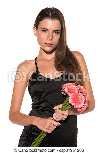 Brunette with flowers - csp31961206
