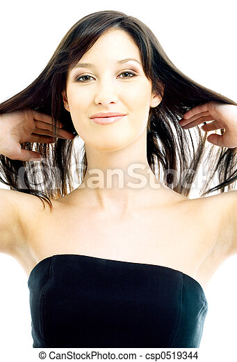 brunette with long hair - csp0519344