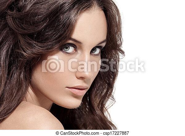 Brunette Woman. Curly Long Hair. - csp17227887