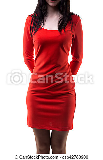 Brunette woman in red Jersey dress - csp42780900