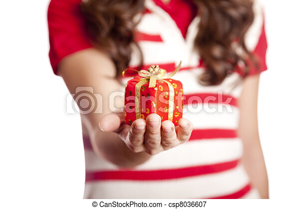 Brunette woman show you present box. - csp8036607