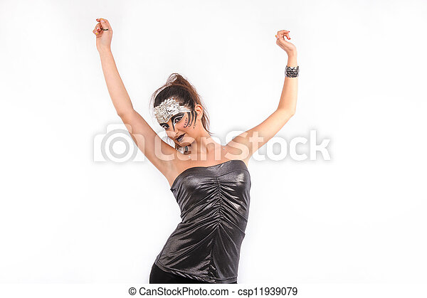 brunette woman with arms up - csp11939079