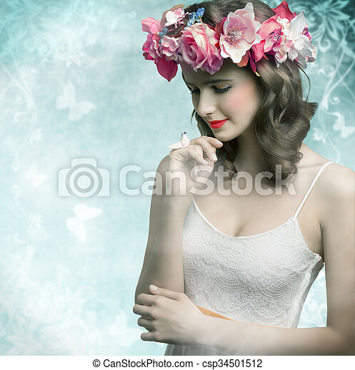 Brunette woman with flowers - csp34501512