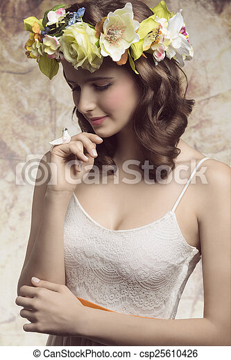 Brunette woman with flowers - csp25610426
