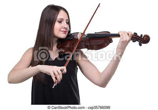 Brunette woman with violin - csp35766099