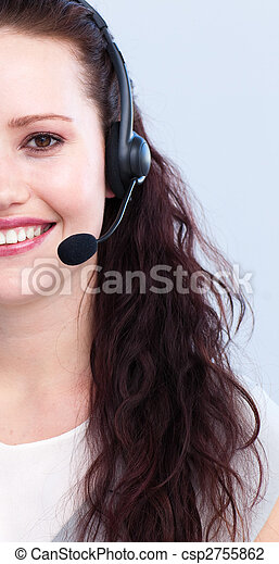 Brunette woman working in a call center - csp2755862