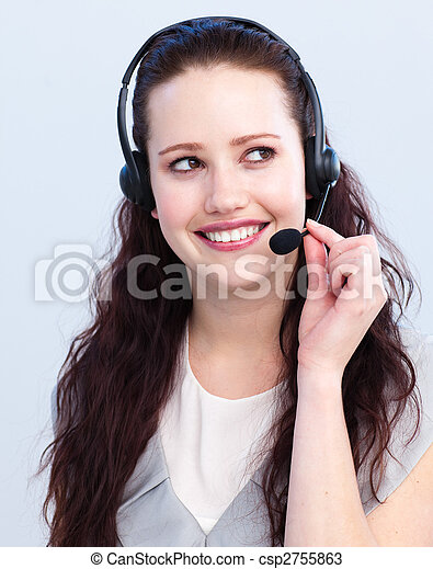 Brunette woman working in a call center - csp2755863