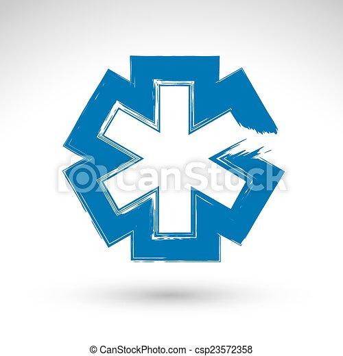 Brush drawing simple blue ambulance symbol, medicine icon, creat - csp23572358