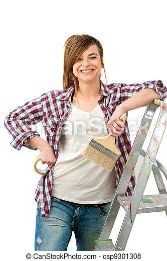 brush., farbe, lackierer, feundliches , weibliche  - csp9301308