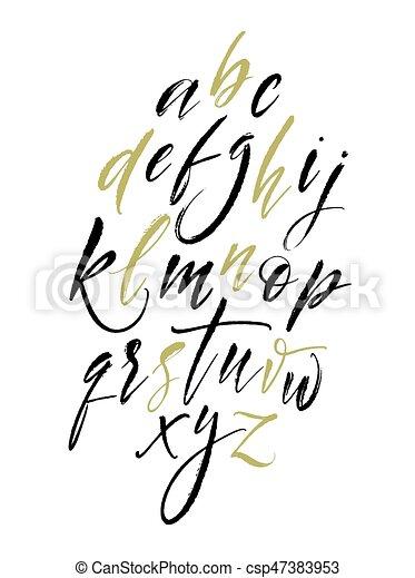 Handwritten Script Alphabet Hand Lettering And Custom Typography For Design Vector