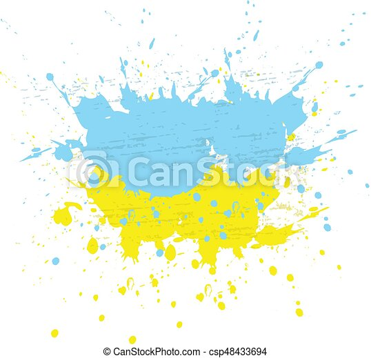 Brush painted abstract flag of Ukraine. Hand drawn style illustration with a grunge effect, ink and splashes on white background, Vector. - csp48433694