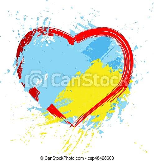 Brush painted abstract flag of Ukraine. - csp48428603