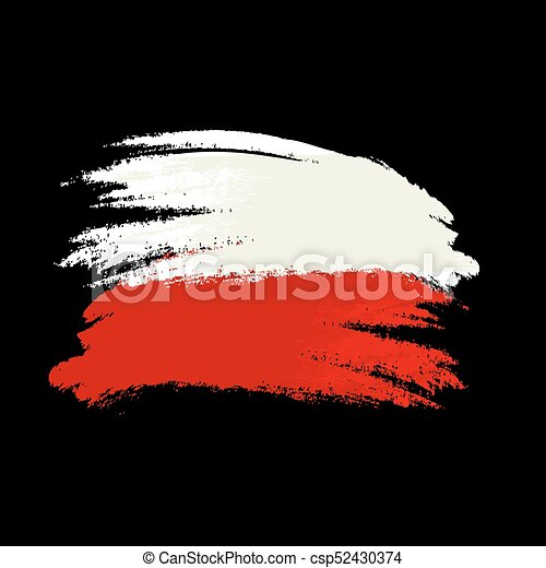 Brush painted Austria flag. Hand drawn style illustration with a grunge effect and watercolor. Austria flag with grunge texture. Vector illustration. - csp52430374