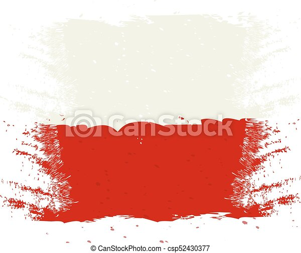 Brush painted Austria flag. Hand drawn style illustration with a grunge effect and watercolor. Austria flag with grunge texture. Vector illustration. - csp52430377