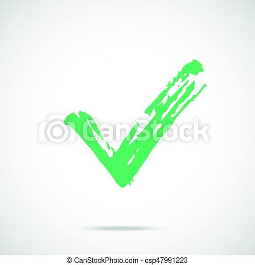 Brush Stroke Green Check Mark Icon Painted Tick Symbol Vector Icon