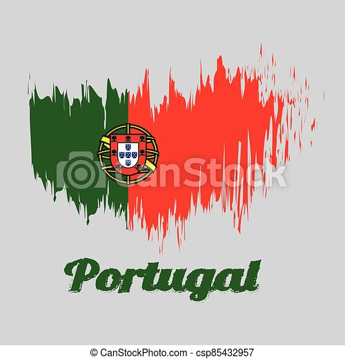 Brush style color flag of Portugal, 2:3 vertically striped bicolor of green and red, with coat of arms of Portugal centred over the color boundary - csp85432957