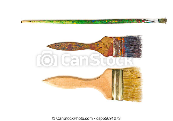 Brush with paint on white background - csp55691273