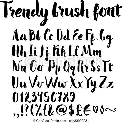Brush written alphabet