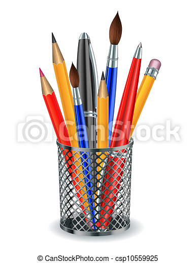 Brushes, pencils and pens in the holder. - csp10559925