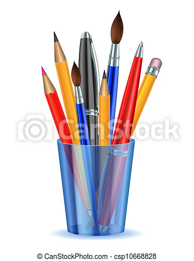 Brushes, pencils and pens in the holder. - csp10668828