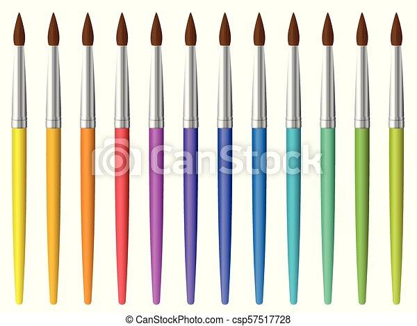 Paint Brush Set Clip Art