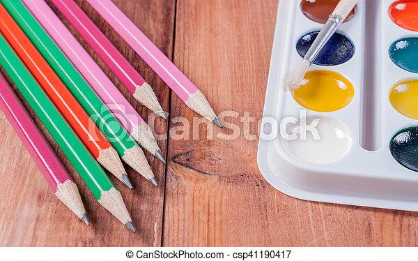 brushes., set, kleurrijke, verven, concept., school, back - csp41190417
