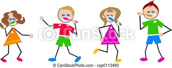brushing teeth kids - csp0113493