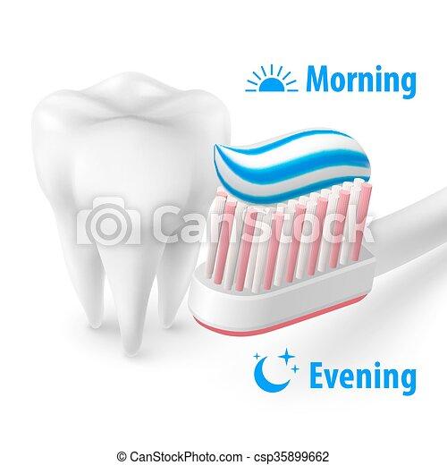 Brushing Teeth Morning and Evening - csp35899662