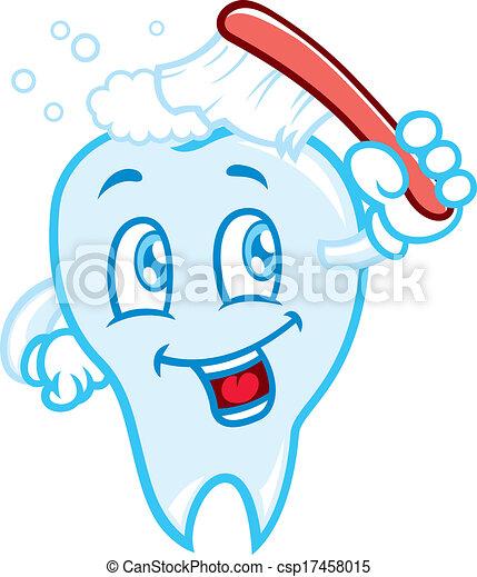 brushing tooth cartoon - csp17458015