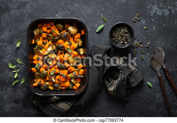 Brussels sprouts baked with butternut squash, top view - csp77063774