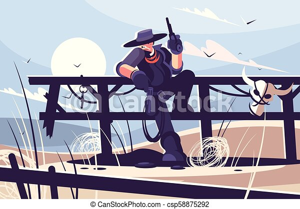Brutal cowboy with hat and revolver - csp58875292
