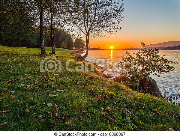 brzeg, zachód słońca, wzdłuż, trawiasty - csp16068067