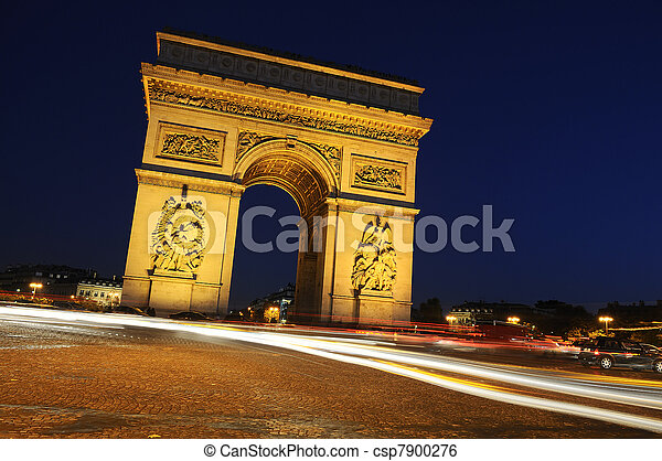 bty, triumph., frança, paris, arco, night. - csp7900276