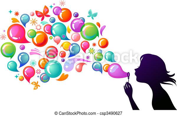 bubblar, 2, -, tvål, blåsning - csp3490627