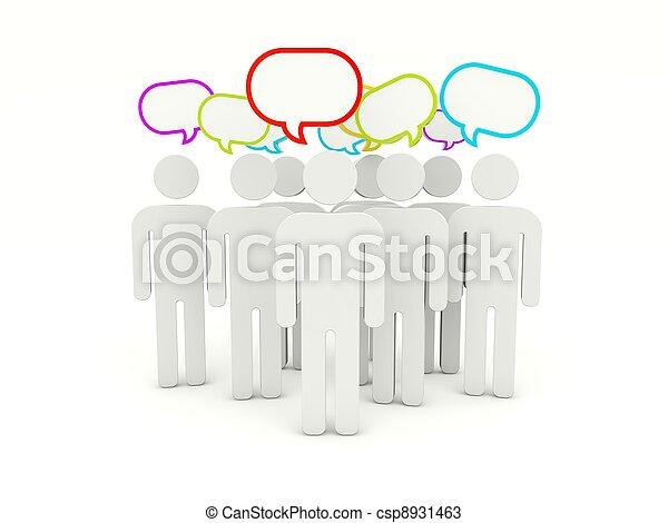 bubblar, anförande, folk - csp8931463