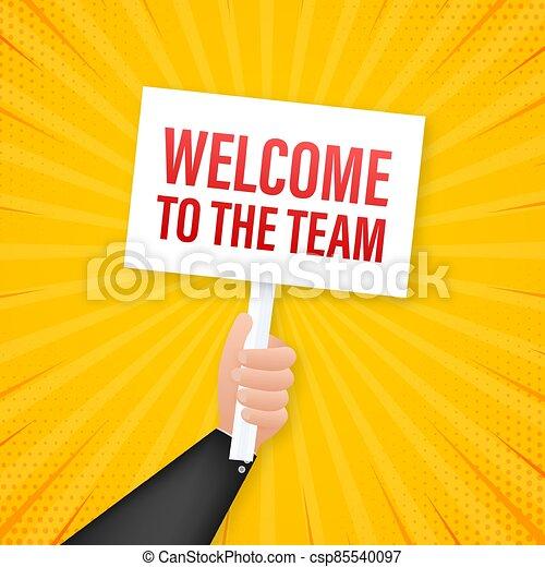 bubble., acción, illustration., discurso, equipo, publicidad, escrito, bienvenida, signo., vector - csp85540097