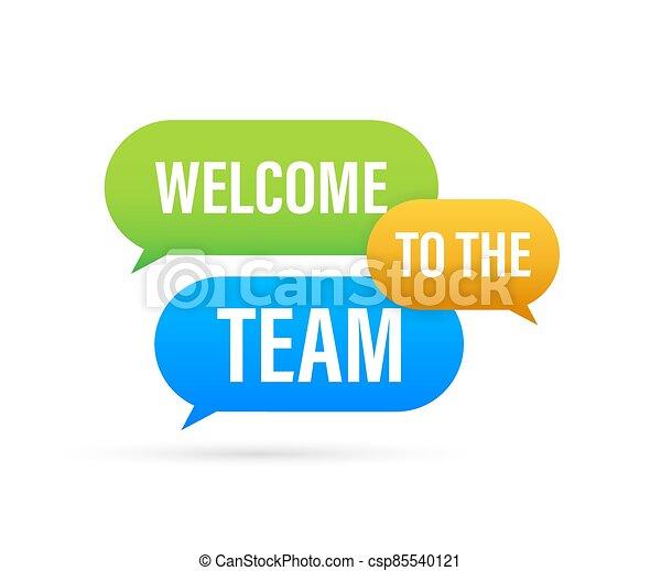bubble., acción, illustration., discurso, equipo, publicidad, escrito, bienvenida, signo., vector - csp85540121