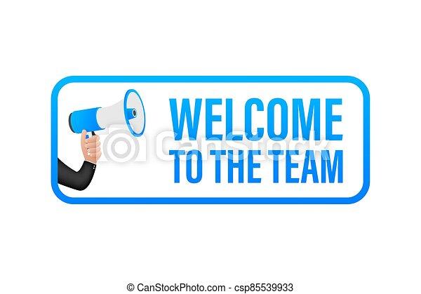 bubble., acción, illustration., discurso, equipo, publicidad, escrito, bienvenida, signo., vector - csp85539933