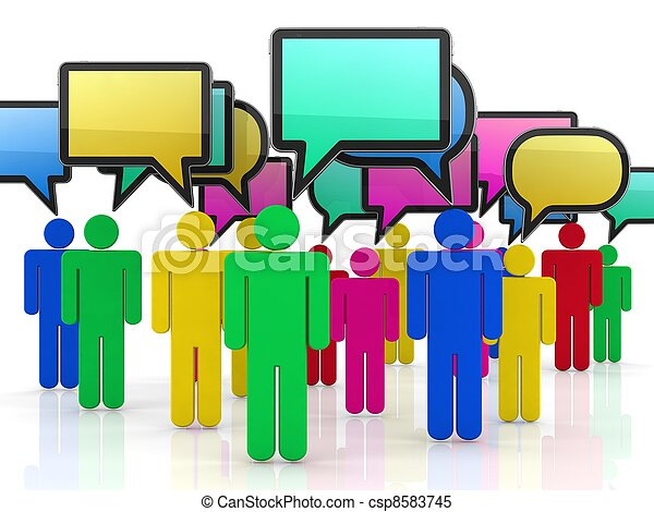 bubble-communication, concept., isolato, discorso, bianco, 3d - csp8583745