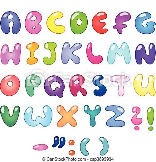Bubble Letters Colorful Shaped Set