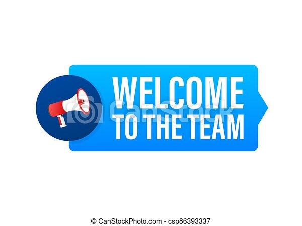 bubble., publicidad, acción, illustration., equipo, vector, bienvenida, signo., discurso, escrito - csp86393337
