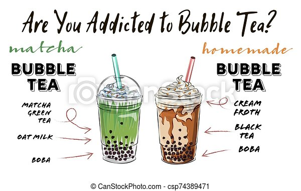 Bubble tea cup design collection, yummy drinks, soft ...