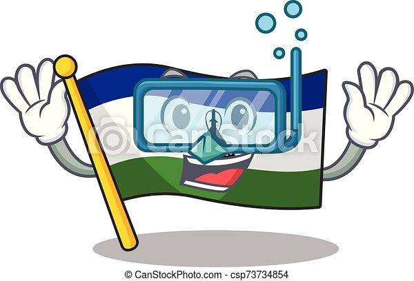 buceo, bandera de lesotho, caricatura, poste, hoisted - csp73734854