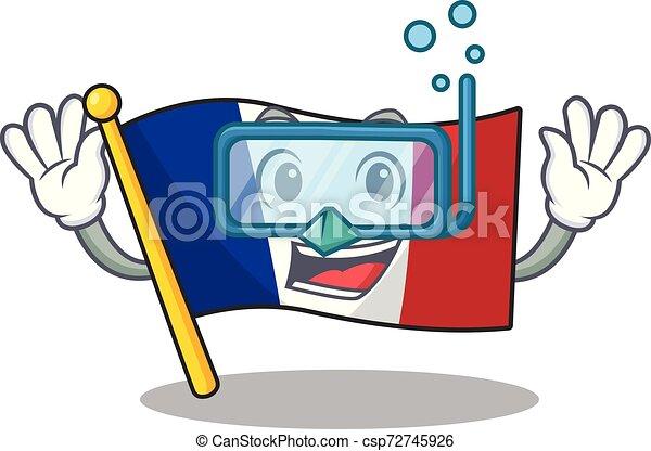 franquicia de la bandera de buceo aislada con la mascota - csp72745926