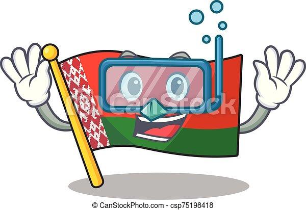 buceo, estilo, carácter, bandera, caricatura, sonriente, belarus - csp75198418