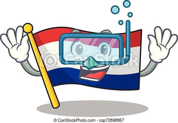 Inmersión de banderas inferiores con forma de mascota - csp72898867