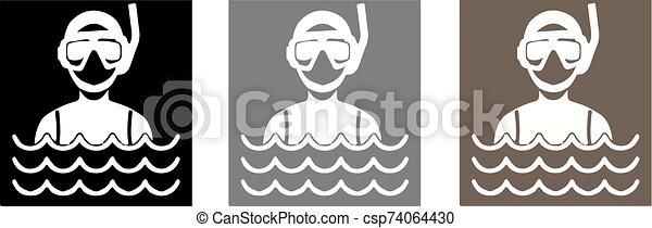 buceo, ilustración, vector, escafandra autónoma, icono - csp74064430