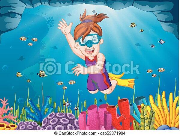 Chica de dibujos animados buceando en el mar - csp53371904
