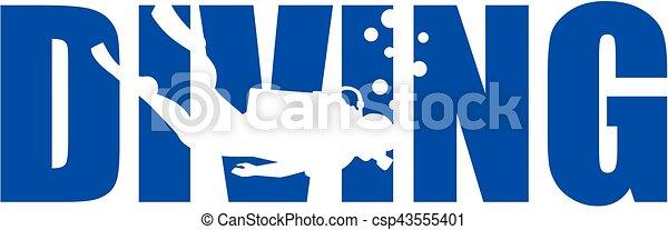 Palabra de buceo con silueta - csp43555401
